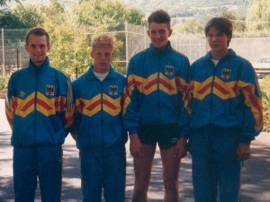 Junioren-Team der Berglauf-Nationalmannschaft 1993 - Michael Kehrer, André Götz, Patrick Heinlein, Carsten Stegner